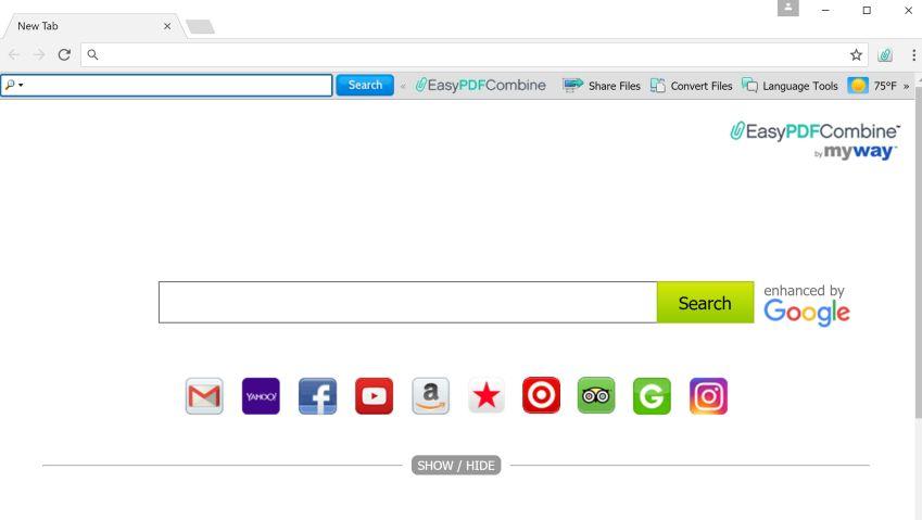 remove EasyPDFCombine toolbar toolbar