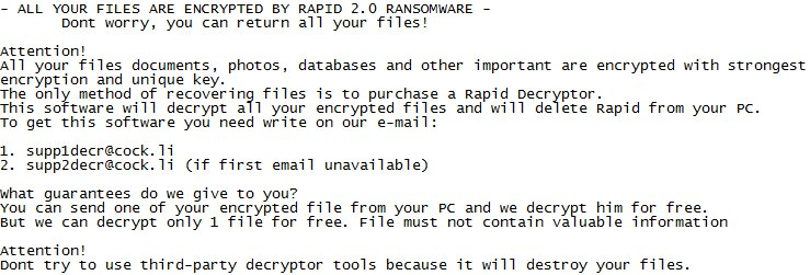 How to remove Rapid 2 0 ransomware and decrypt files