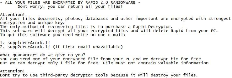 remover rápida 2.0 Ransomware
