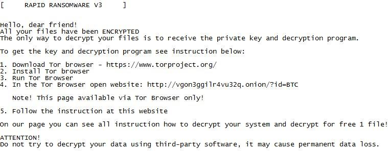 remove Rapid v3 ransomware