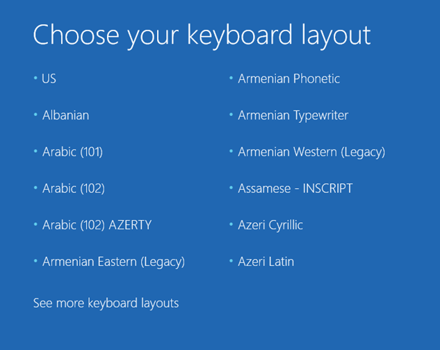 """Choose your keyboard layout"" screen"