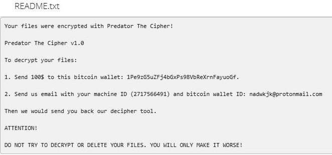 remove Predator The Cipher ransomware
