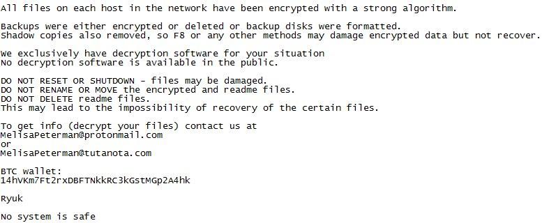remove Ryuk Ransomware