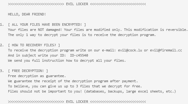 remove EvilLocker ransomware