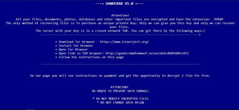entfernen GANDCRAB V5.0 Ransomware