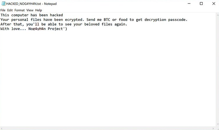 remove Nog4yH4n ransomware