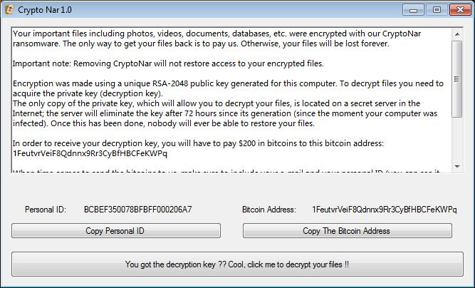remover CryptoNar ransomware