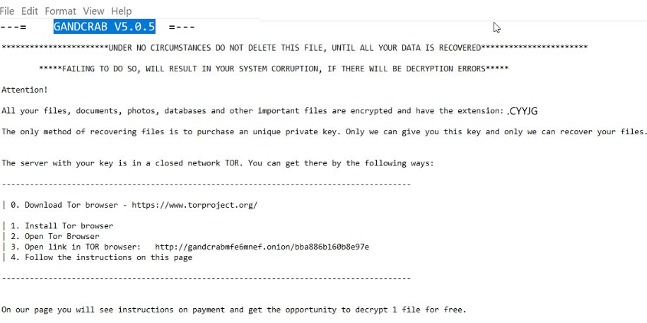 remover GANDCRAB 5.0.5 Ransomware