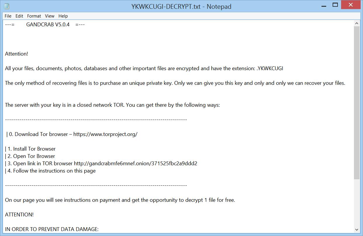 supprimer GANDCRAB 5.0.4 Ransomware