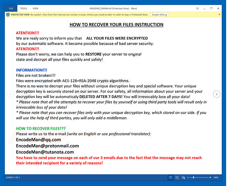 How to remove Eman ransomware and decrypt  EMAN files