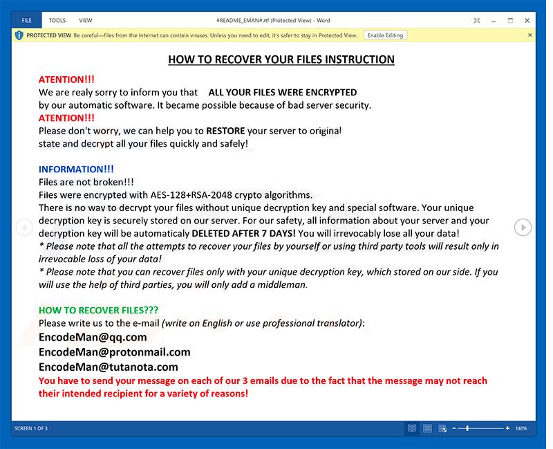 remove Eman ransomware