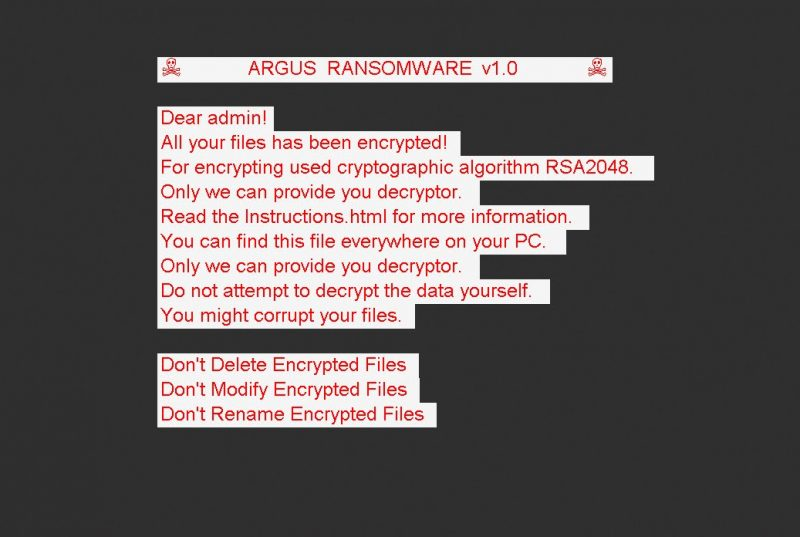 remove Argus Cryptor V1.0 ransomware
