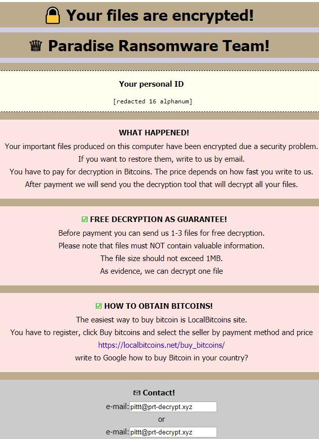 remove Paradise ransomware