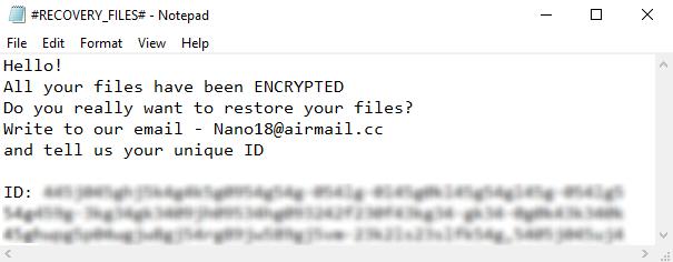 remove NANO ransomware