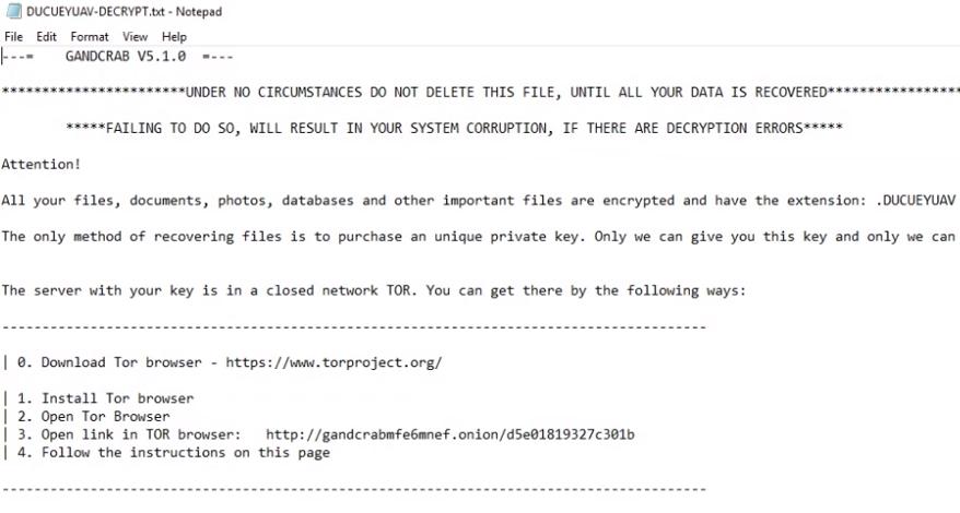 remove GANDCRAB 5.1.0 ransomware