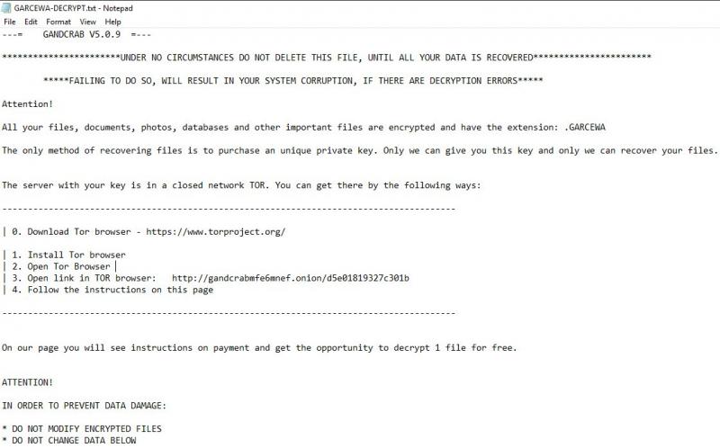 remove GANDCRAB 5.0.9 ransomware