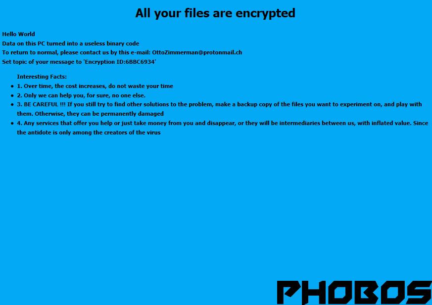 supprimer Phobos ransomware