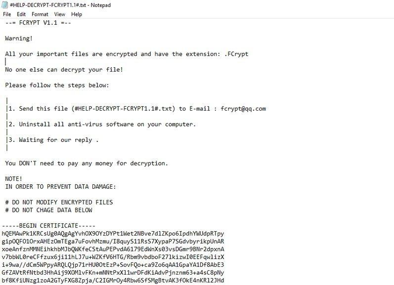 remove FCrypt ransomware