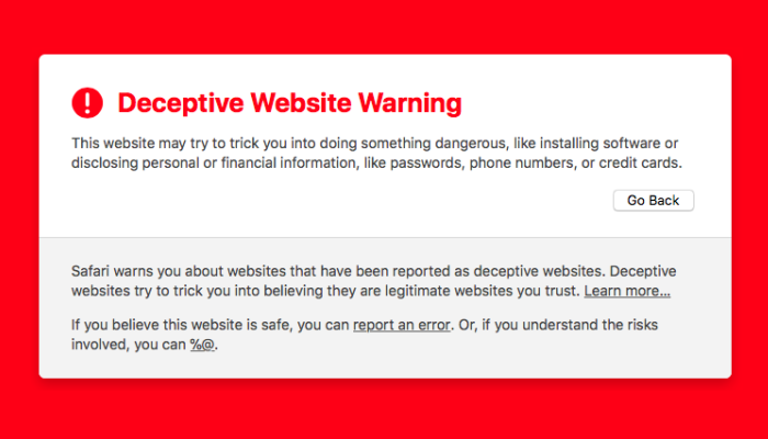 "remove ""Deceptive website warning"" hijacker"