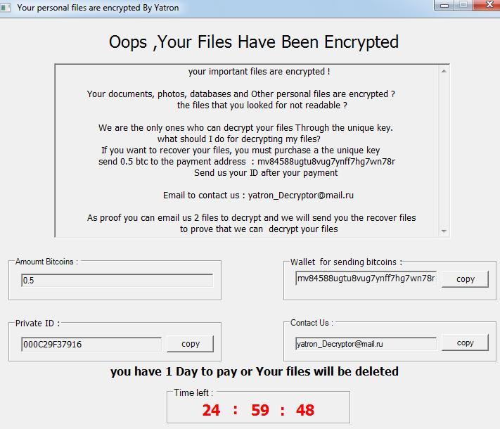 remove Yatron ransomware