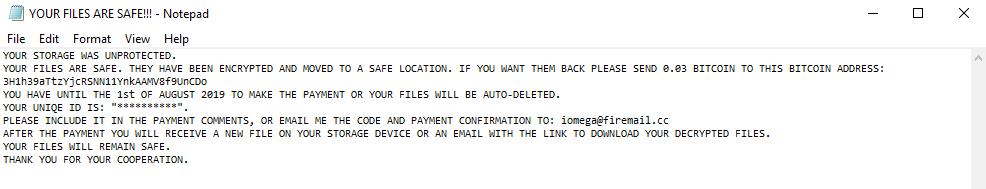 remove DecryptIomega ransomware