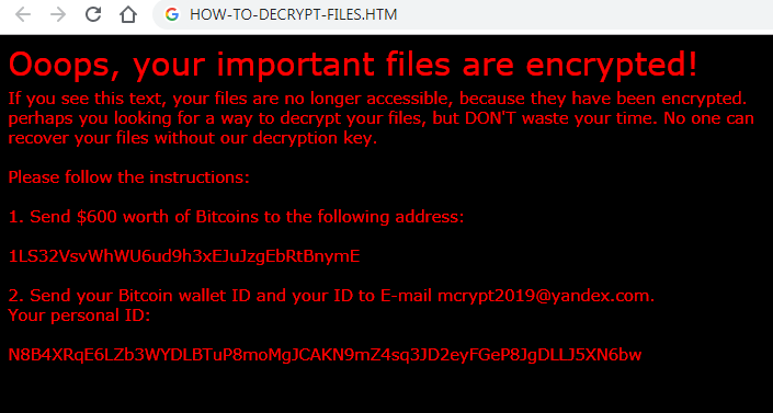 remove Xorist-Mcrypt2019 ransomware