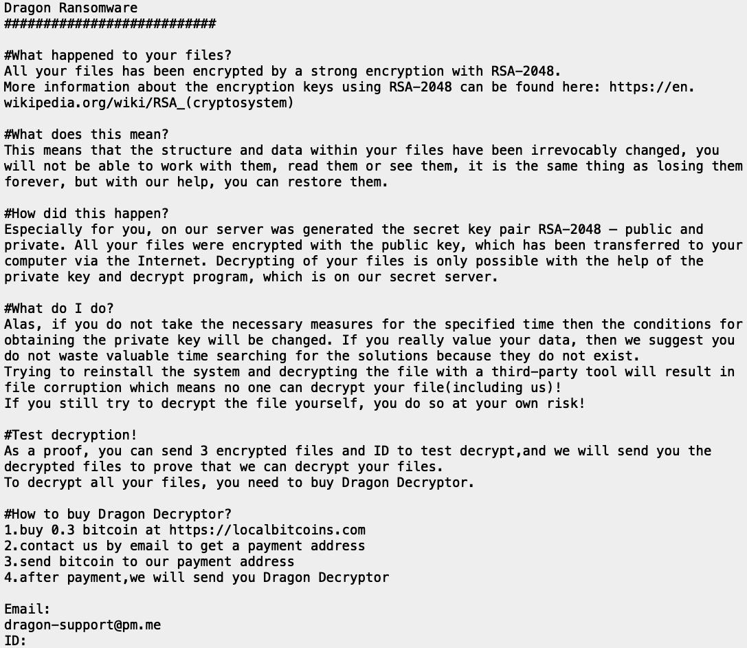 remove Dragon ransomware