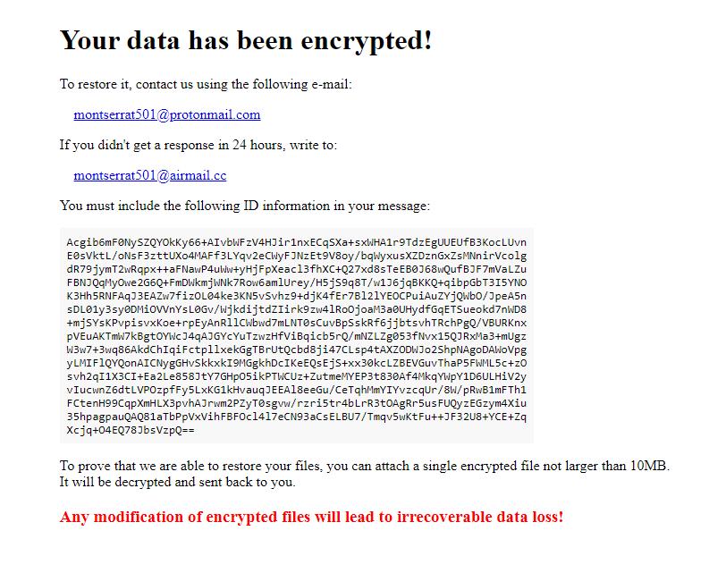 remove Montserrat ransomware