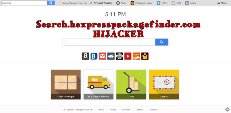 remover Search.hexpresspackagefinder.com sequestrador