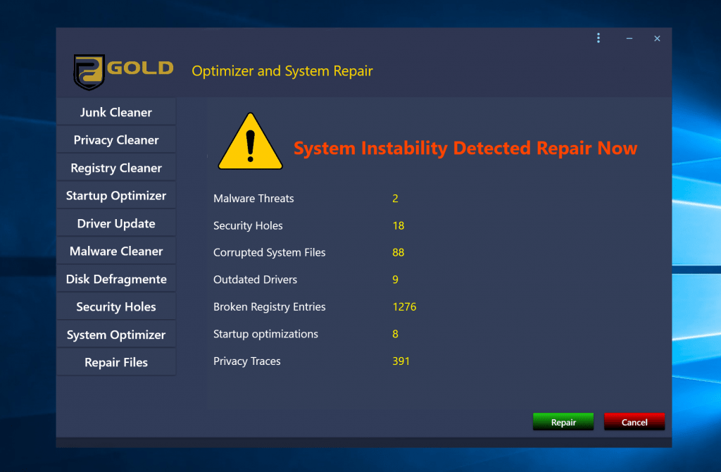 supprimer PC Gold Optimizer et System Repair PUP
