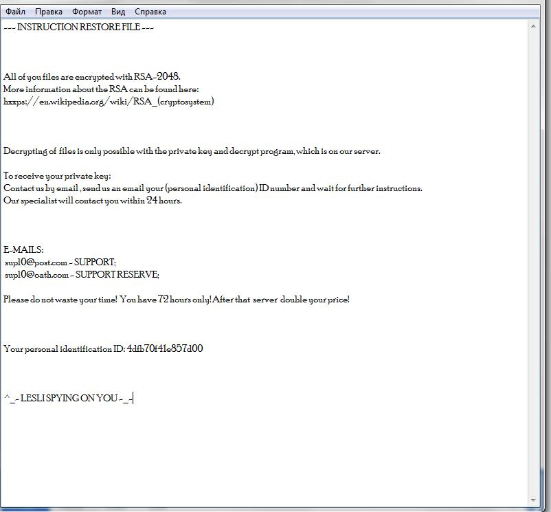 remove Lesli ransomware