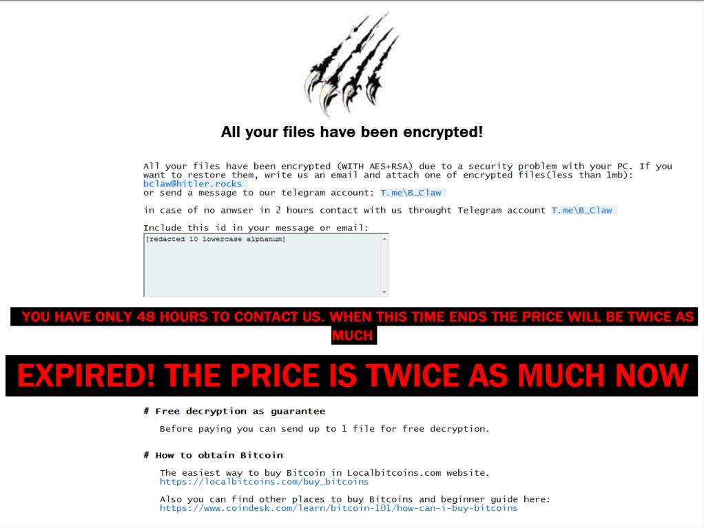 remove BlackClaw ransomware