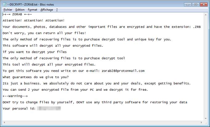 eliminar el ransomware Zorab