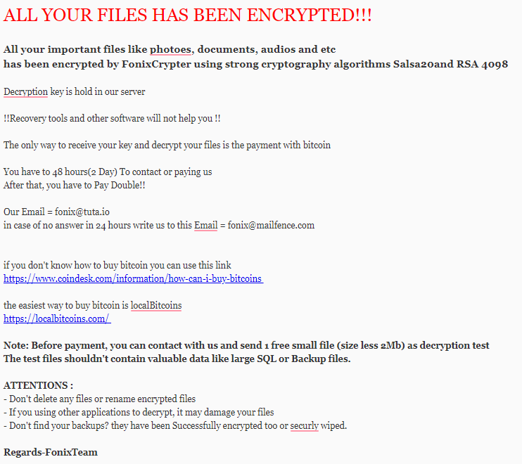 eliminar Fonix ransomware