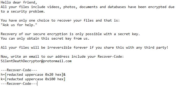 descriptografar arquivos .SilentDeath