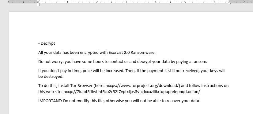 decrypt .Exorcist 2.0 files