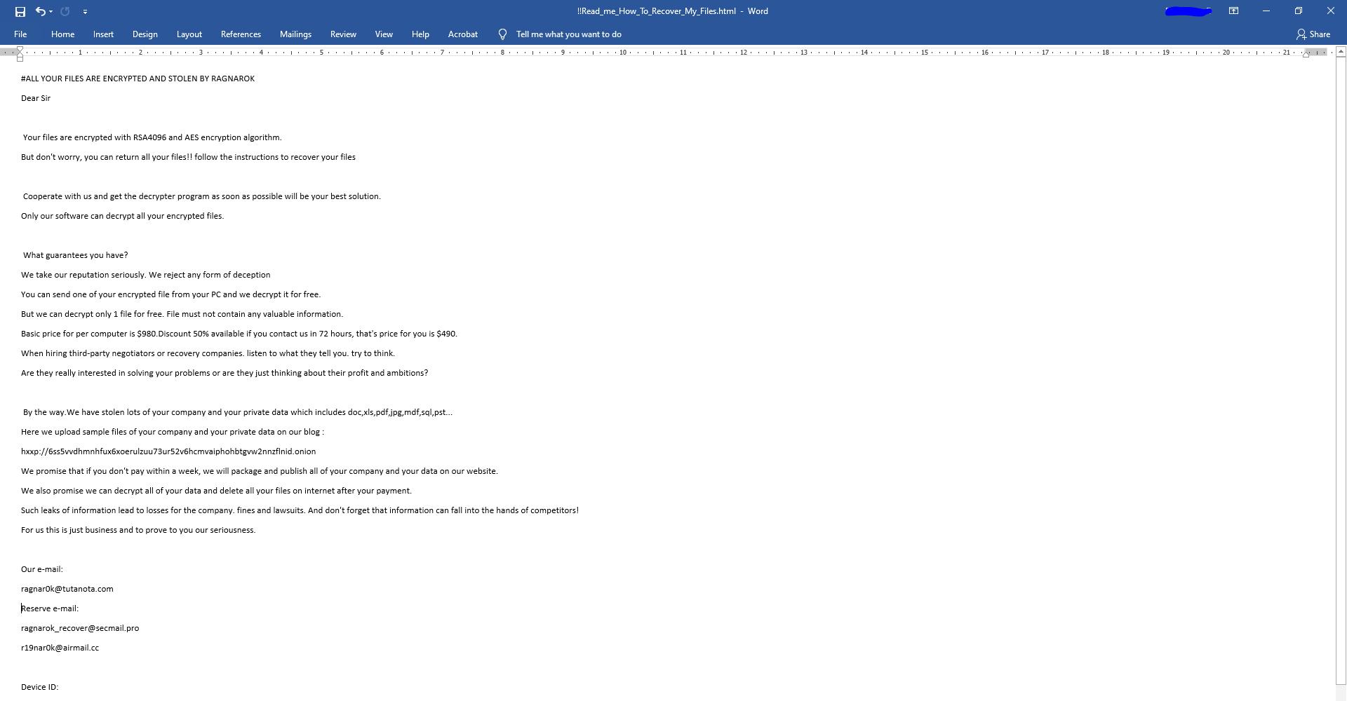 decrypt .RAGNAROK files